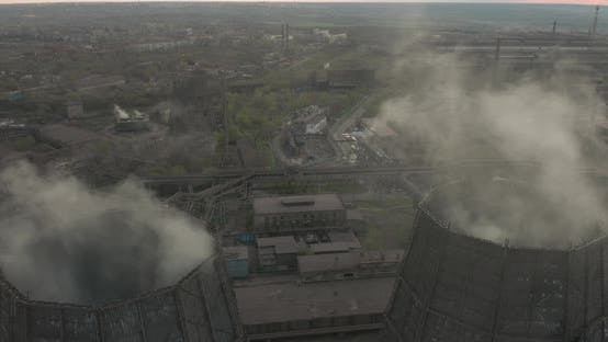 Thumbnail for Aerial. Smoke and Steam From Industrial Power Plant, Contamination, Pollution, Global Warming