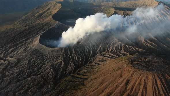 Clouds of smoke on volcano, Mount Bromo, Indonesia