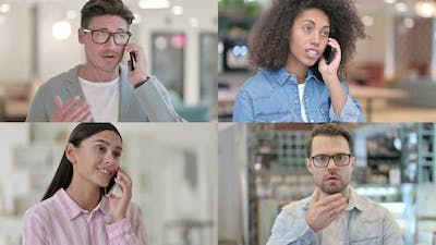 Collage of Different Races People Talking on Smartphone Phone Call
