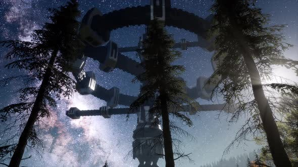 Thumbnail for UFO Hovering Over a Forest at Night with Light Beam