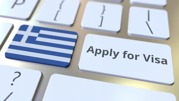 Bewerben Sie sich für Visa Text und Flagge Griechenlands auf der Tastatur