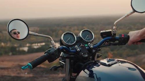 Motorcyclist Starts Motorbike Starts Travel Concept