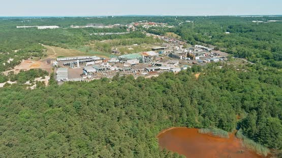 Environmental Zone a Red Chemically Infected Lake Chemical Emissions Into the Pond Chemical Waste