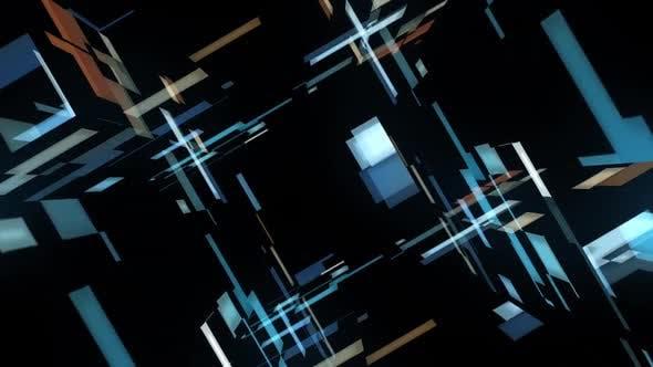 Futuristic Glow of a Blue White Tunnel of Random Movement