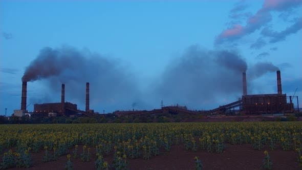 Thumbnail for Timelapse Factory Smoke Stacks Billow, Thick Smoke.