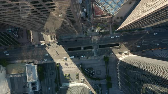 Thumbnail for AERIAL: Slow Uplifting Birds Eye View Flight Over Downtown Los Angeles California Grand Avenue in