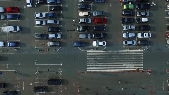 Thumbnail for Drone Footage People Walking at Parking. Copter Filming Parking Lot with People