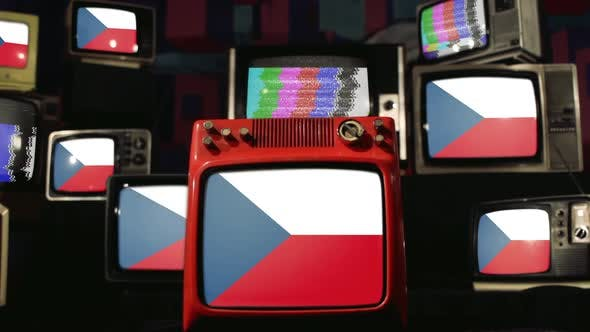 Czech Republic Flags and Vintage Televisions.