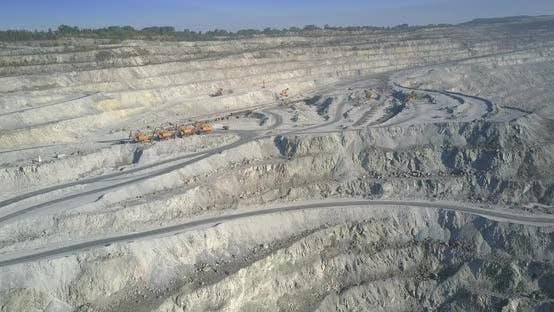 Asbestos Quarry Upper Terraces with Roads and Excavators