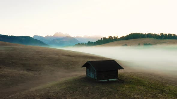 Thumbnail for Autumn Morning and Bright Misty Sunrise in the Valley of Compaccio. Province of Bolzano, Italian