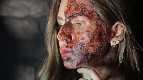 Terrible bloody zombie girl. Halloween
