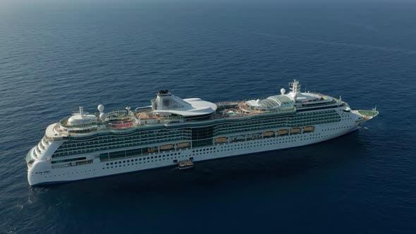 Thumbnail for Aerial View. Cruise Ship Sailing Across the Mediterranean Sea