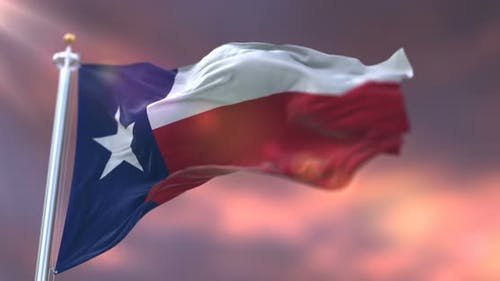 Flag of Texas at Sunset
