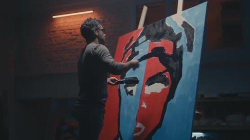 Man Painting Creative Portrait Studio