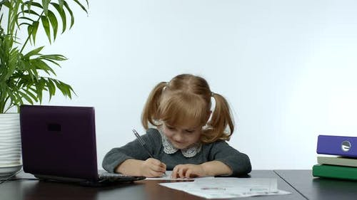 Back To School, Online Learning, Distance Lesson, Education at Home, Technology for Schoolgirl Child