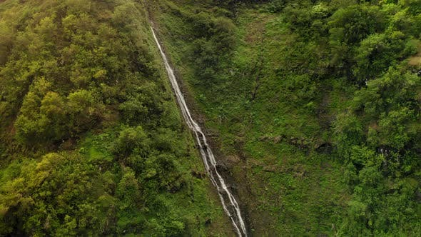 Thumbnail for Haena State Park. Aerial Following the Waterfall Up To the Slope. Hawaii, USA