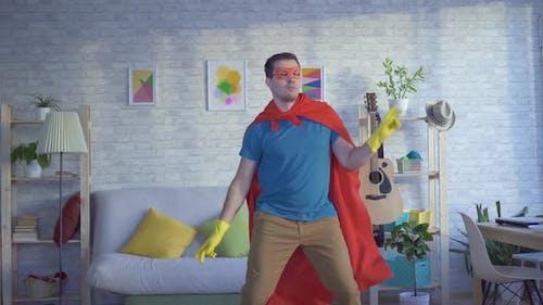 Dancing Man Householder Superhero in Yellow Gloves