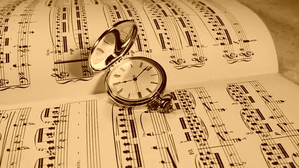 Thumbnail for Clock With a Roman Dial Against the Background of Musical Notes