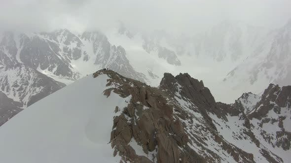 Thumbnail for Mountaineers on Top of Mountain. Tian Shan, Kyrgyzstan. Aerial View