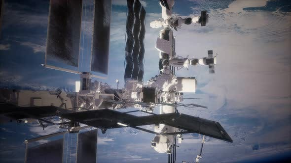 Earth and Outer Space Station Iss