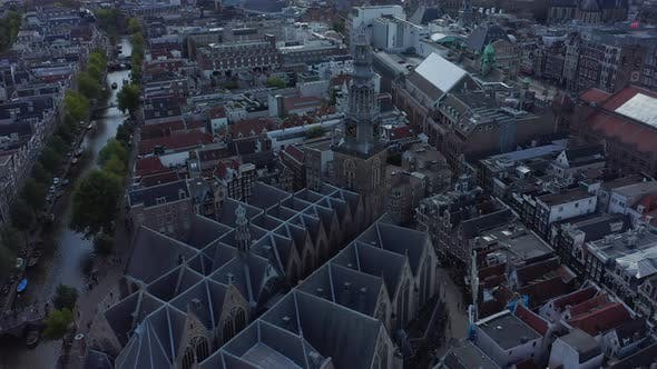 Thumbnail for Old Church, Cathedral in Amsterdam Wide Aerial Establisher