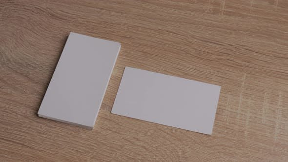 Thumbnail for Blank White Paper Business Cards on Table
