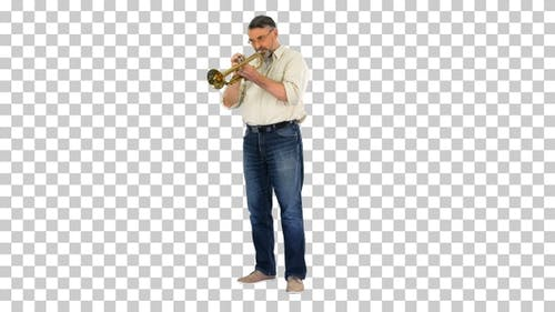 Senior musician playing a trumpet, Alpha Channel