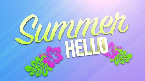 Text Summer Hello with sun rays and flowers