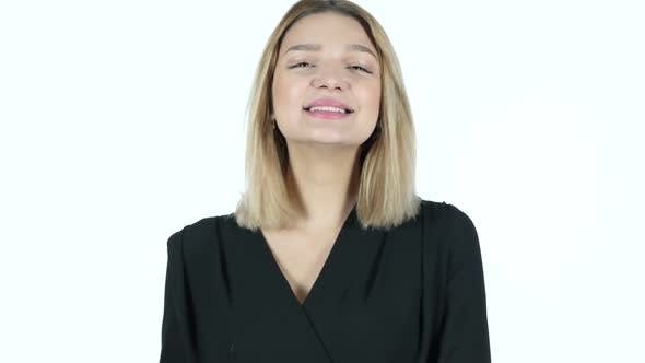 Young Woman Amazed by Surprise, White Background