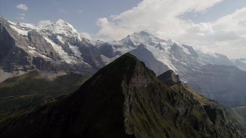 Pan of Mannlichen Mountain Near Jungfrau Switzerland