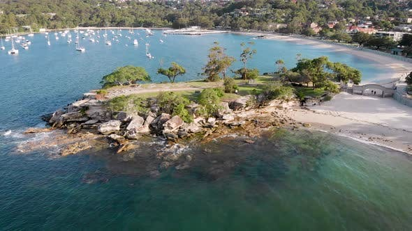 Aerial Footage of a Beautiful Bay with Yachts Near the Mosman Area. Australia