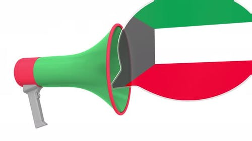 Loudspeaker and Flag of Kuwait on the Speech Bubble