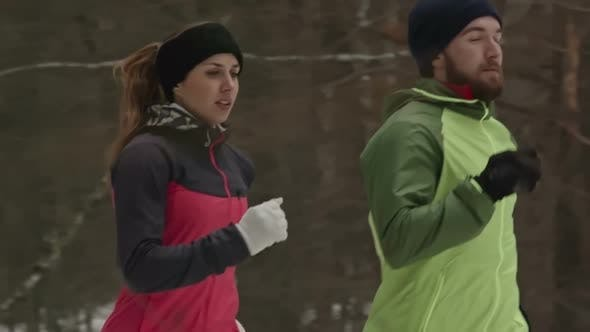 Cover Image for Couple Practicing Winter Running in Woodland