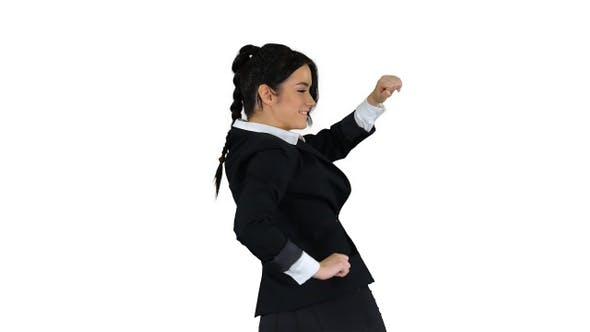 Thumbnail for Adorable confident young business woman dancing on white