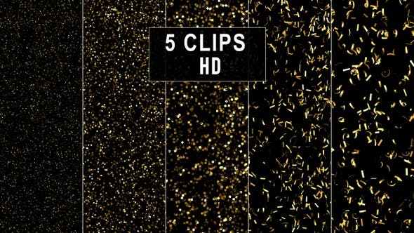 Thumbnail for High Dense Golden Confetti Backgrounds - 5 Variations - HD