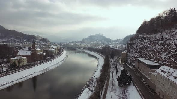 Aerial view of Salzach River in Salzburg