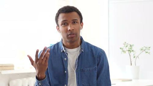 Chat Vidéo par un homme afro-américain, Webcam View