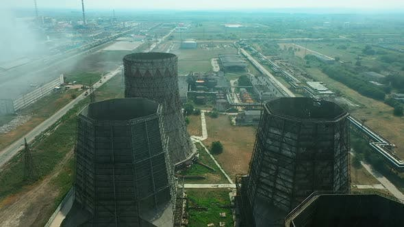 Thumbnail for Plant Territory, Huge Exhaust Pipes, Aerial View, Factory Halls and Buildings, Large Factory Area