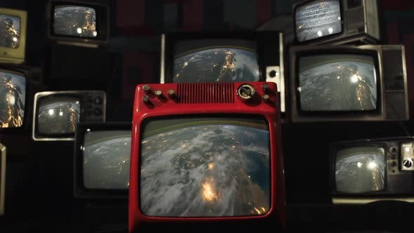 Planet Earth at Night as Seen from Space on Retro TV Wall.