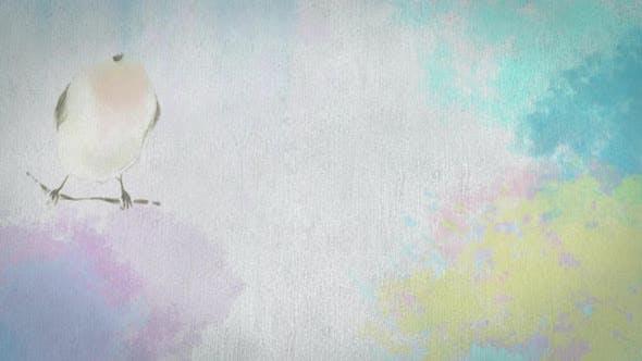 Oiseau peint à l'aquarelle avec fond multicolore