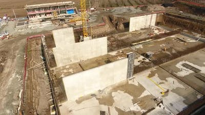 Aerial View Wall Construction 4K