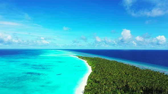 Thumbnail for Aerial above nature of perfect lagoon beach adventure by aqua blue lagoon with white sandy backgroun