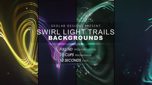 Swirl Light Trails Backgrounds  l  Colorful Trails Backgrounds l Flow Lines Backgrounds