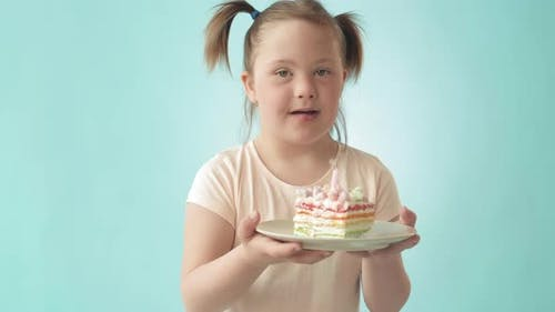 Handicapped Girl with Birthday Cake