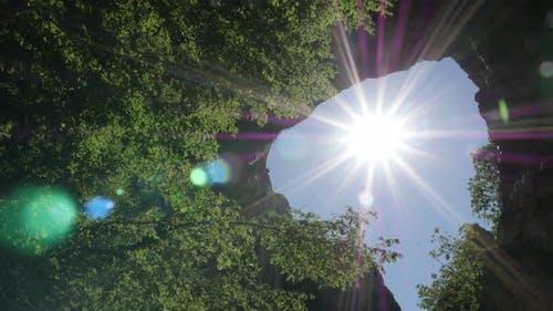 Sun flare through Vratna gates  4K 2160p 30fps UltraHD footage - Nature  beauty of Eastern Serbia  3