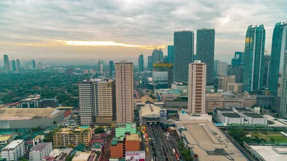 Cover Image for Night to Morning View of the Business District of Metro Manila City, Luzon Island, Philippines