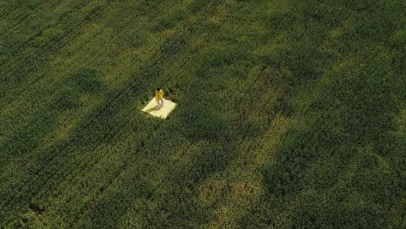 Aerial Photography. A Dancer in Yellow Clothes Is Dancing in the Middle of a Green Grass Field