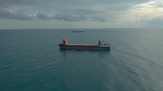 Thumbnail for Freight Ship Floating on Sea. Aerial View.
