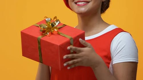 Cheerful Young Woman Holding Present Hands, Occasion Gift, Anniversary Surprise