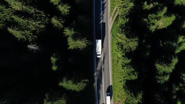 Aerial Road With Cars